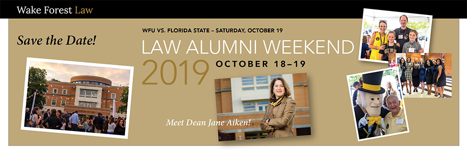 Save the Date: Law Alumni Weekend 2019, October 18-19